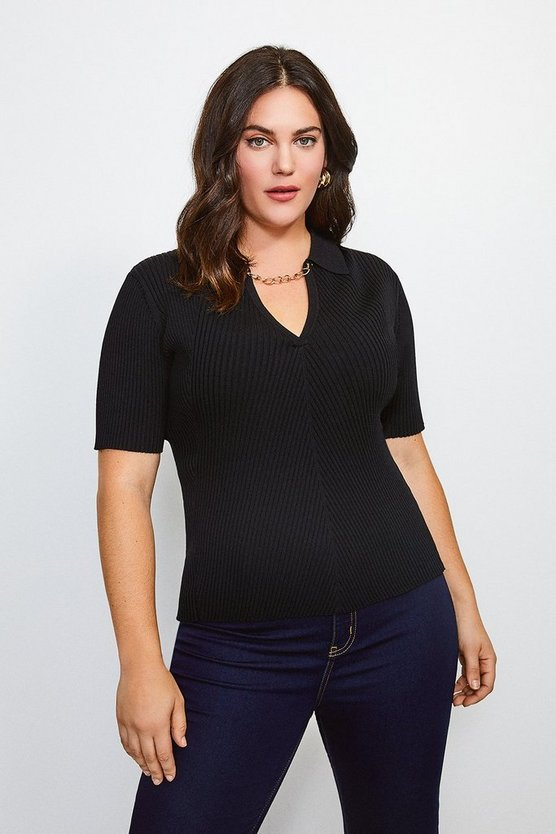 Black Curve Knitted Rib Chain Detail Collared Top