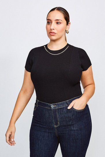 Black Curve Knitted Rib Eyelet And Trim Top