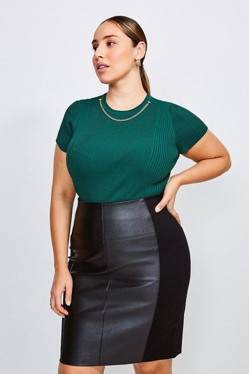 Dark green Curve Knitted Rib Eyelet And Trim Top