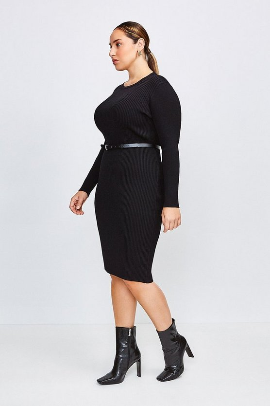 Black Curve Knitted Rib Dress With Skinny Belt