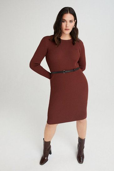 Rust Curve Knitted Rib Dress With Skinny Belt