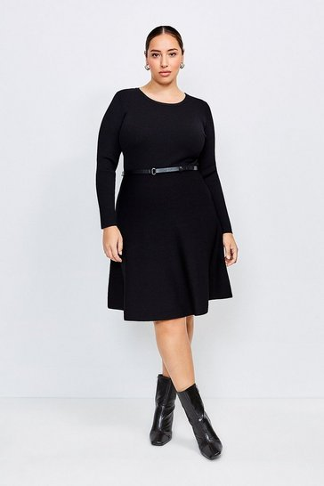 Black Curve Knitted Crew Neck Skater Dress