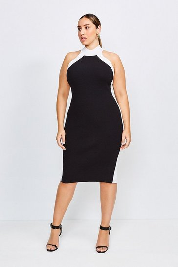 Blackwhite Curve Knitted Rib Mono Dress