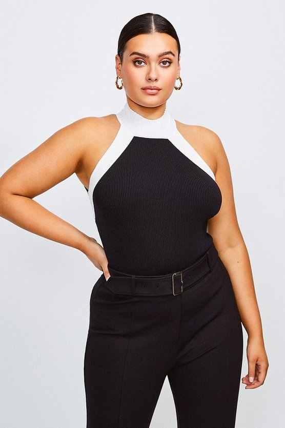 Blackwhite Curve Knitted Rib Mono Top