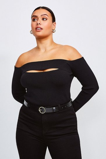 Black Curve Knitted Rib Bardot Peep Hole Top