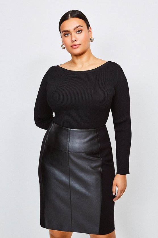 Black Curve Knitted Rib Slash Neck Top
