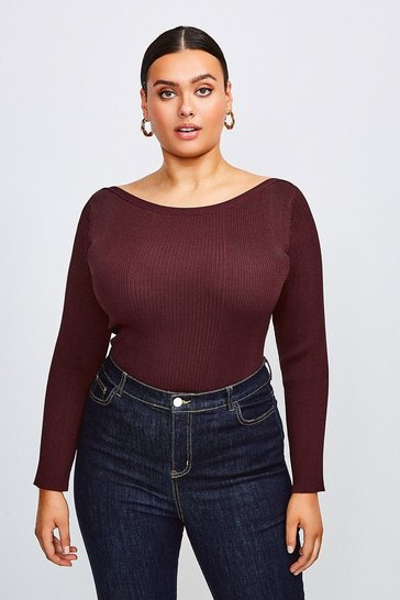 Fig Curve Knitted Rib Slash Neck Top