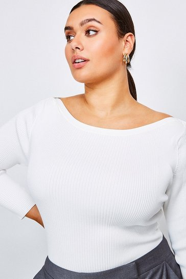 Ivory Curve Knitted Rib Slash Neck Top