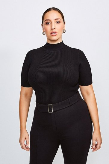 Black Curve Rib Funnel Neck Top