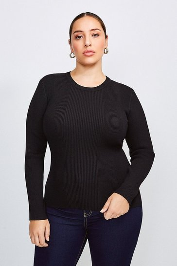 Black Curve Knitted Rib Long Sleeve Crew Neck Top