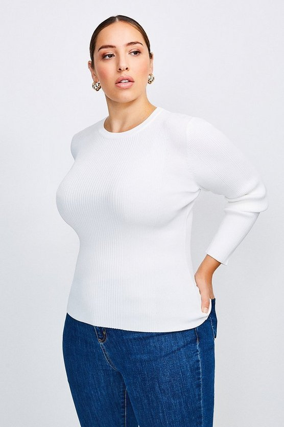 Ivory Curve Knitted Rib Long Sleeve Crew Neck Top
