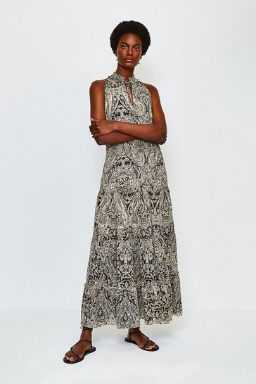 Black Paisley Print High Neck Dress