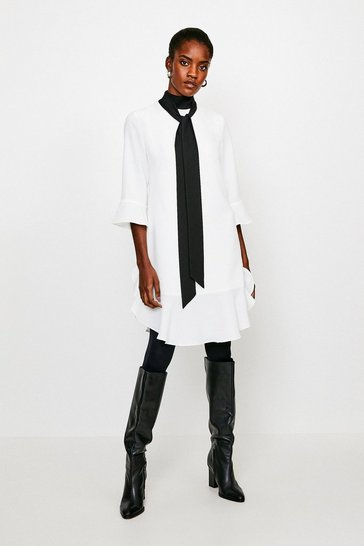 Ivory Tie Neck Volume Sleeve Dress