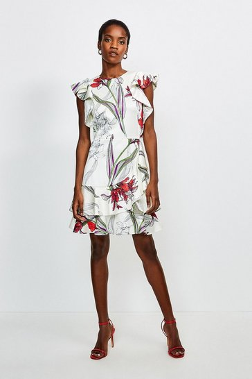 Ivory Floral Ruffle Short Dress
