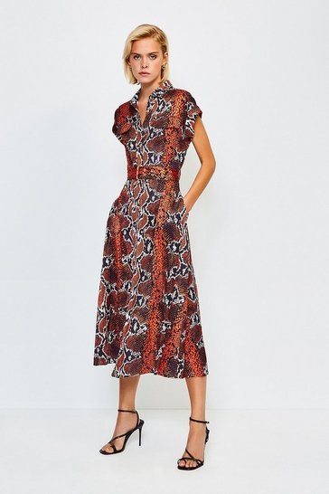 Orange Sleeveless Snake Printed Dress