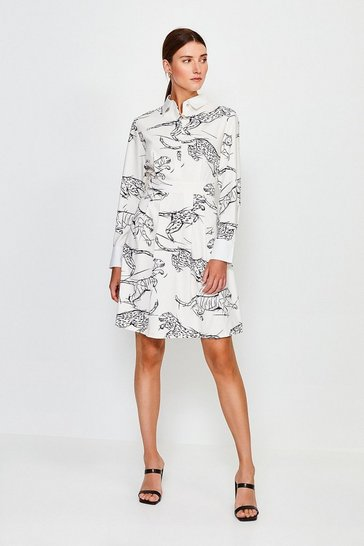 White Tiger Print Mini Shirt Dress