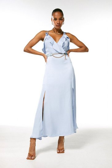 Pale blue Linen Mix Strappy Belted Dress