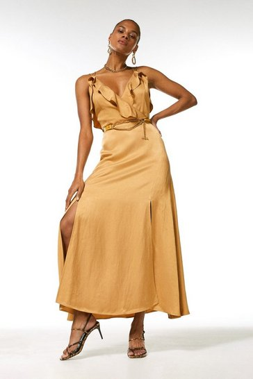 Tan Linen Mix Strappy Belted Dress