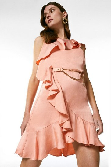 Blush Linen Mix Ruffle Belted Dress