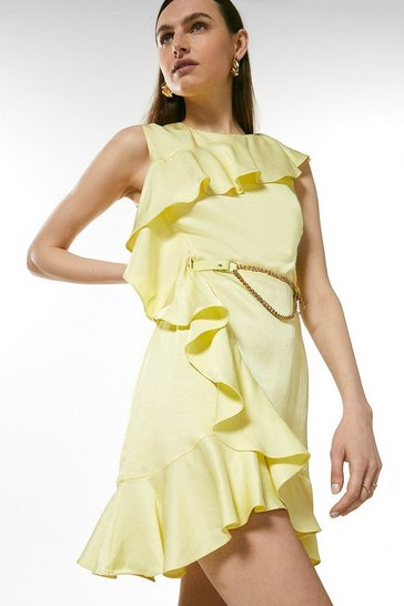 Lemon Linen Mix Ruffle Belted Dress