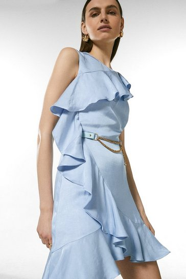 Pale blue Linen Mix Ruffle Belted Dress