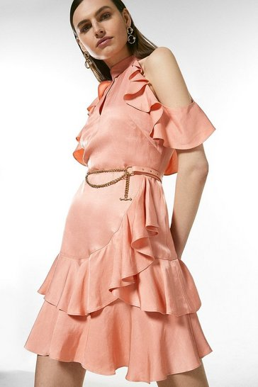 Blush Linen Mix Cold Shoulder Ruffle Dress