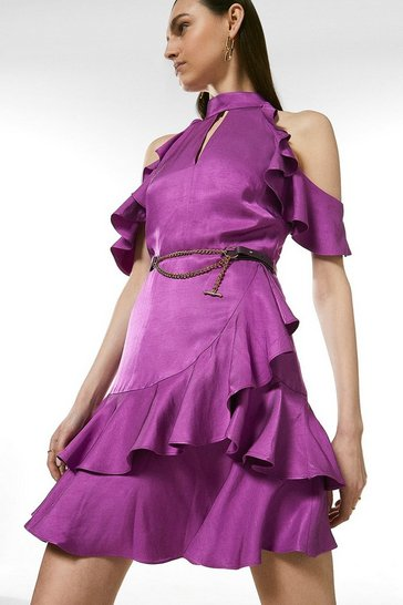 Purple Linen Mix Cold Shoulder Ruffle Dress