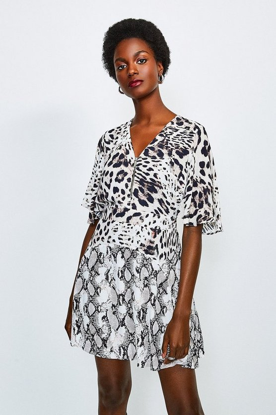 Leopard Animal Printed Mix Short Dress