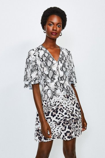 Snake Animal Printed Mix Short Dress