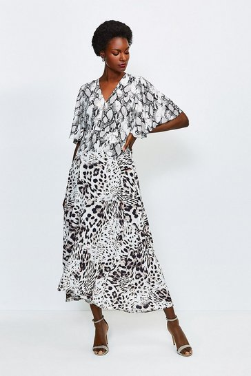 Snake Animal Printed Mix Midi Dress