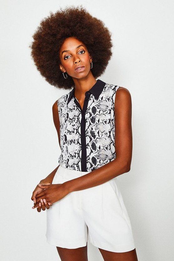 Black Classic Sleeveless Print Shirt