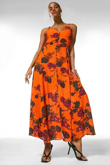 Orange Strappy Printed Floral Long Dress