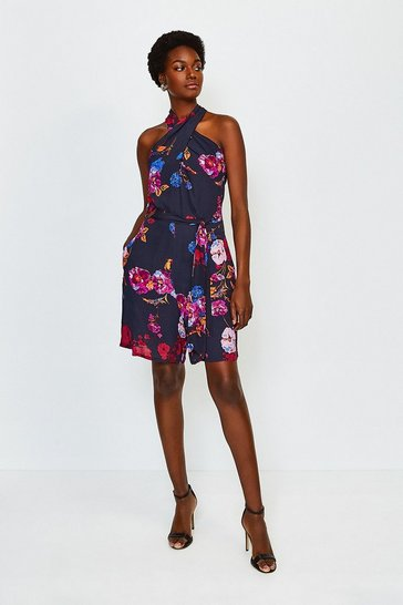 Black Print Floral Twist Halter Playsuit