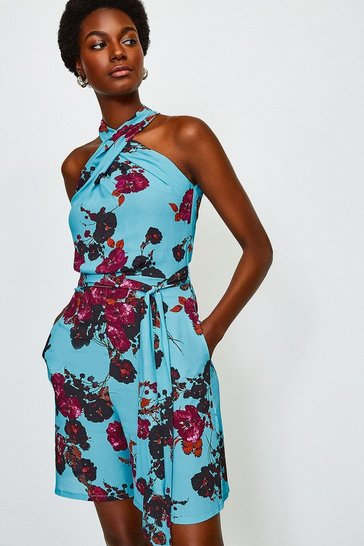 Blue Printed Floral Twist Halter Playsuit