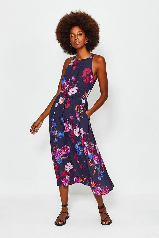 Black Printed Floral Tie Waist Dress