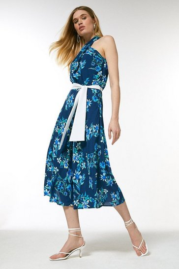 Navy Printed Twist Halter Midi Dress