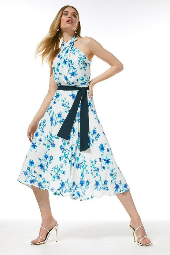 White Printed Twist Halter Midi Dress