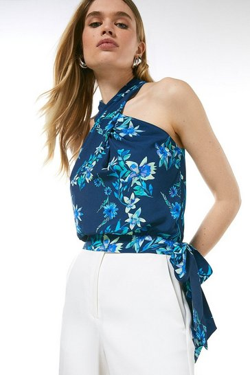 Navy Printed Twist Halter Top