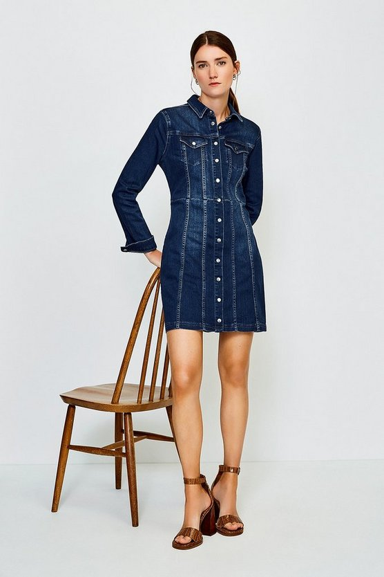 Mid wash Popper Front Denim Shirt Dress