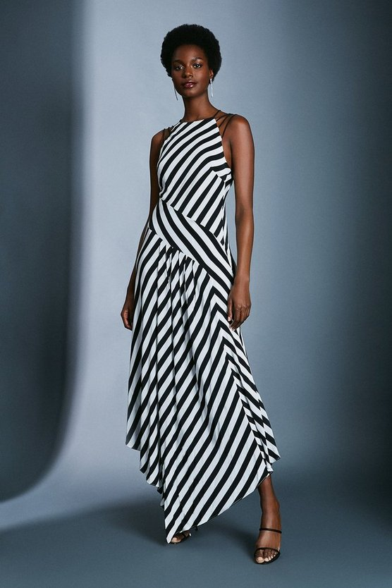Strappy Spliced Stripe Dress