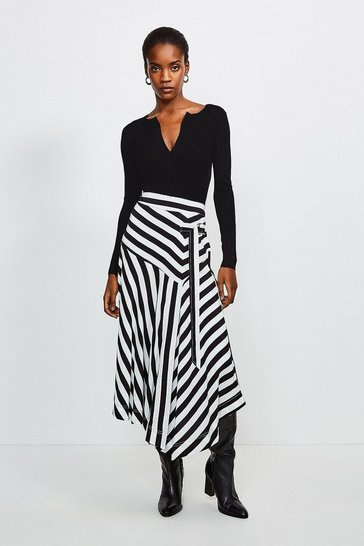 Stripe Printed Splice Skirt