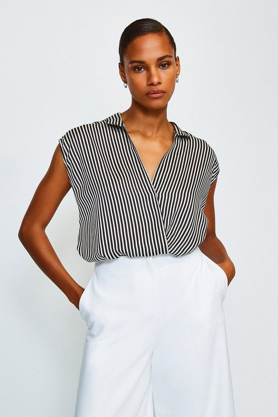 Stripe Printed Wrap Top