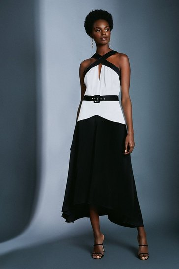 Black Colour Block Satin Crepe Dress With Belt