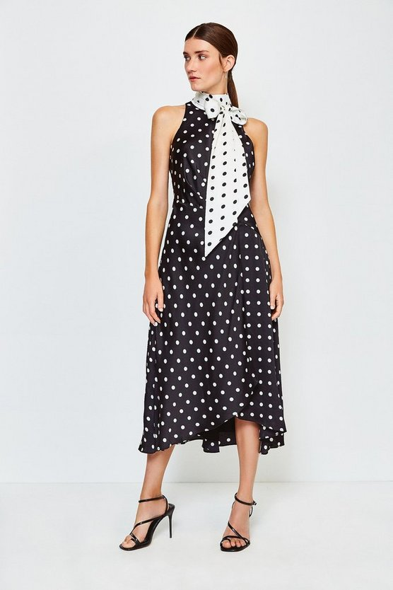 Black Spot Printed Halter Spot Dress