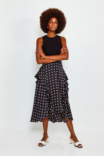 Black Spot Frill Midi Skirt