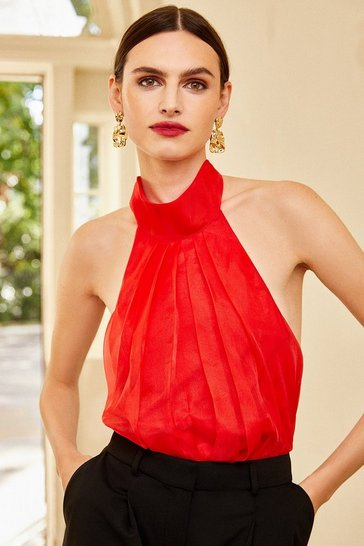 Red Organza Halter Neck Top