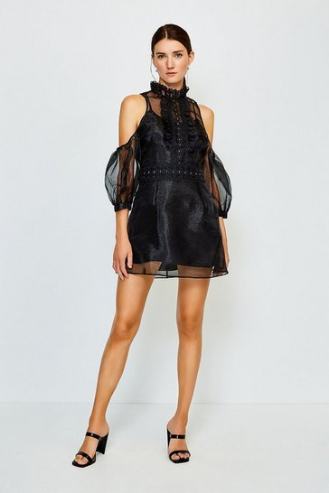 Black Organza Lace Cold Shoulder Dress