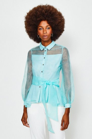Mint Organza Tie Waist Long Sleeve Blouse