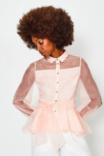 Peach Organza Tie Waist Long Sleeve Blouse