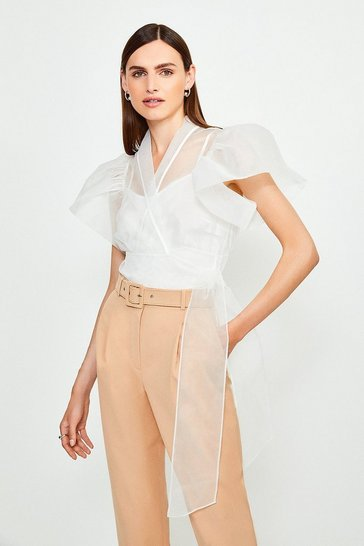 Ivory Organza Puff Sleeve Blouse